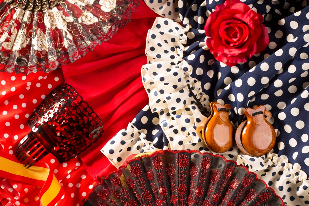 Espana typical from Spain with castanets rose fan and flamenco comb and dress